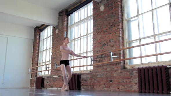 Cover Image for Young Female Ballet Dancer Exercising In Ballet Class