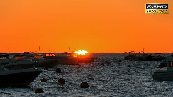 Thumbnail for Golden Sunrise over the Mediterranean Sea with Boats