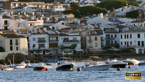 Thumbnail for Anchored Boats in Front of a Mediterranean Village