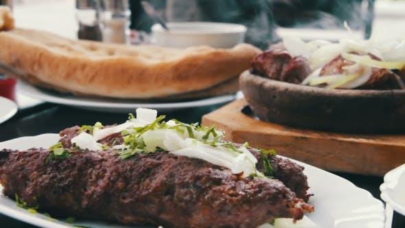 Thumbnail for Kebab And Khachapuri In Georgian Cuisine Restaurant. Georgian Food