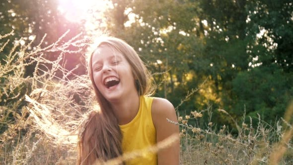 Thumbnail for Beautiful Girl Cheerfully Laughs
