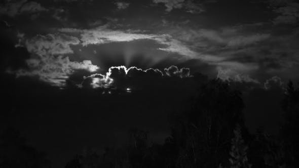 Thumbnail for Night Moon Rising On The Horizon Over The Trees And Clouds.