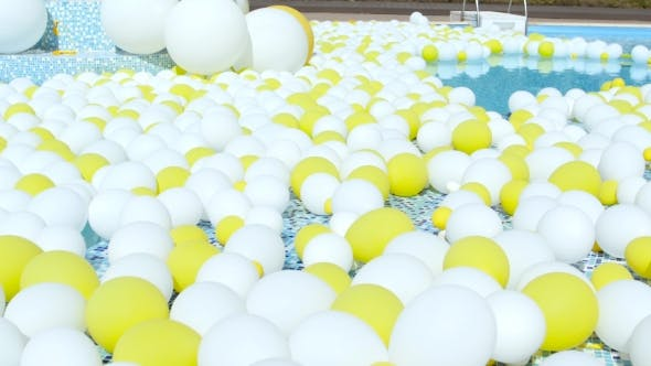 Thumbnail for Yellow And White Balloons Fly. Festive Balloons