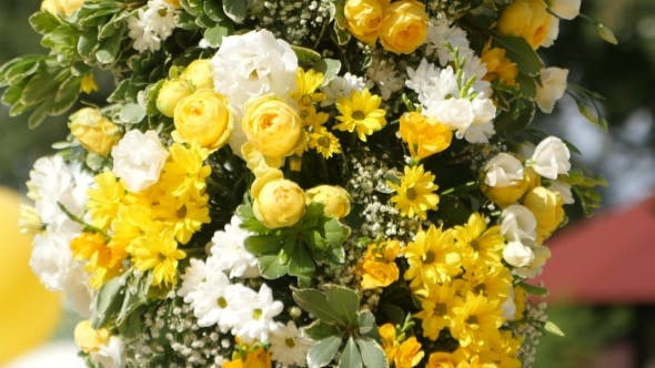 Thumbnail for Wedding Arch With Yellow And White Flowers. .