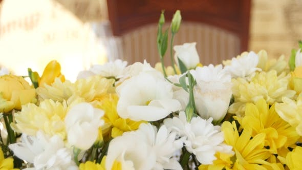Thumbnail for Decoration With Fresh Yellow And White Flowers.