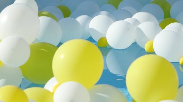 Thumbnail for Yellow And White Balloons Floating On The Water