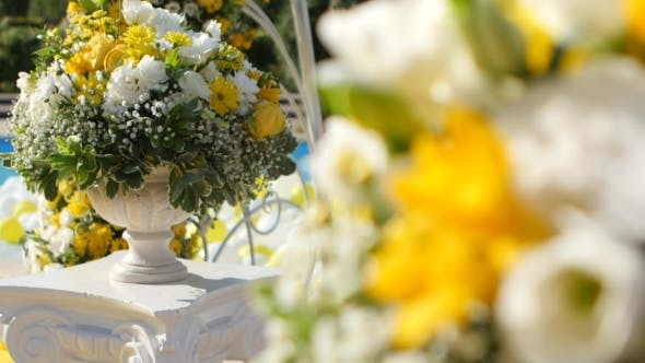 Thumbnail for Yellow And White Flowers In Decorative Vases To Decorate Yard For Wedding Ceremony