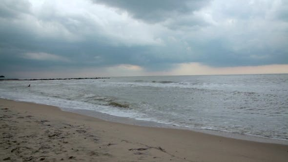 Thumbnail for Marine Sunset Gloomy Weather. Stormy Weather. Weather. Cloud.