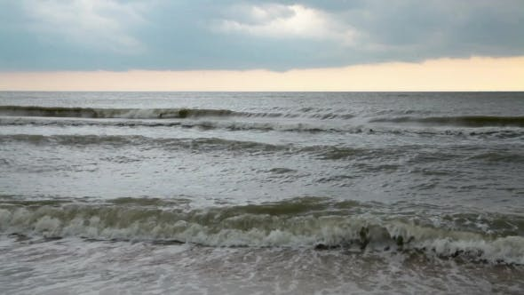 Thumbnail for Strong Waves Of The Sea Bad Weather. Stormy Sky Over The Sea