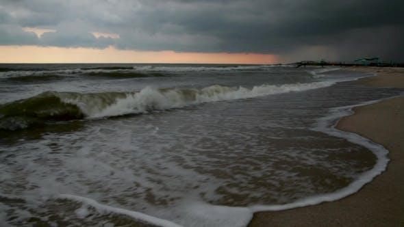 Sea Breeze Storm At Sea. Hurricane In The Sea