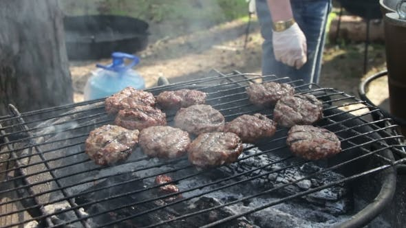 Thumbnail for Meat For Burgers Prepared On The Grill