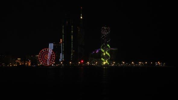 Night City Of Batumi, Georgia. Batumi Sea Port.
