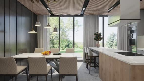 Thumbnail for Camera span across a modern open living space with kitchen