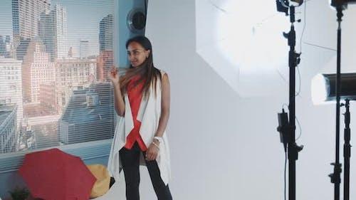 Photo Shoot of Stylish Black Model in Modern Professional Studio Photo Shoot