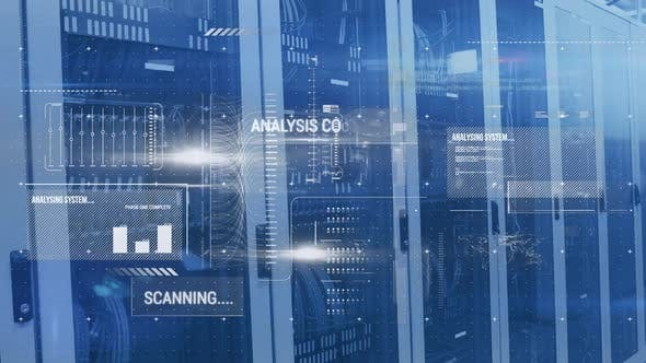 Animation of data processing and digital information flowing
