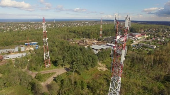 Thumbnail for Aerial View Of Antenna Telecommunication Tower among other towers in the forest