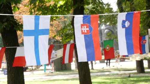 European Flags On A Rope