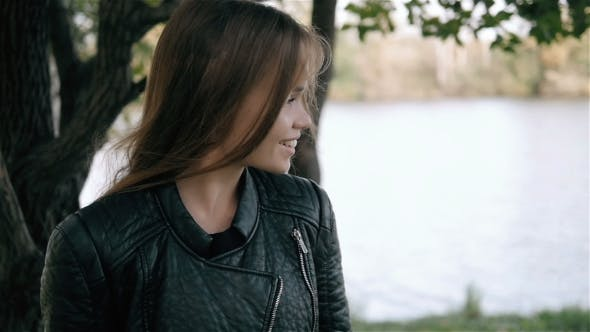Thumbnail for Outdoor Fashion Shot Of Young Beautiful Lady In a Forest, Smiling Girl On a Walk Outdoors