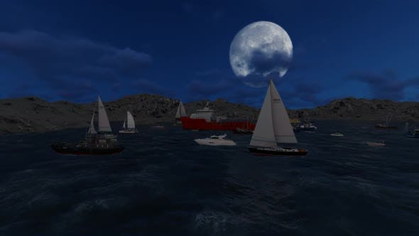 Thumbnail for The ship sails during the full moon between the islands