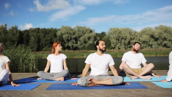 Thumbnail for Group Of People Making Yoga Exercises Outdoors 19