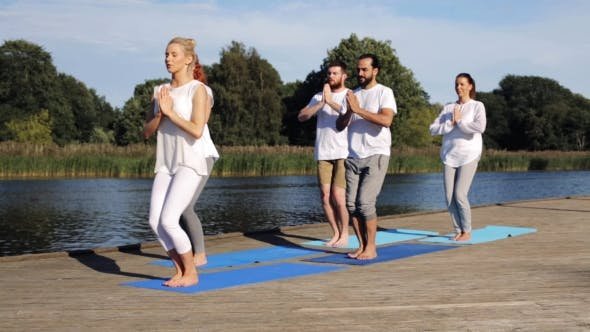 Thumbnail for Group Of People Making Yoga Exercises Outdoors 70