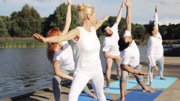 Thumbnail for Group Of People Making Yoga Exercises Outdoors 79
