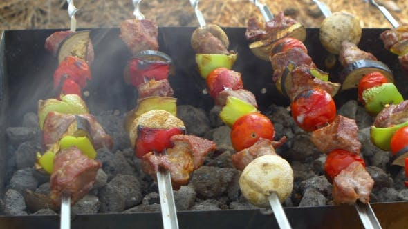 Thumbnail for Skewers With Delicious Kebabs Or Barbeque On Brazier, Cam Moves To The Right, Slider