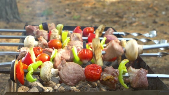 Thumbnail for Assorted Meat From Chicken, Pork And Various Vegetables For Barbecue On Grill, Turning Around