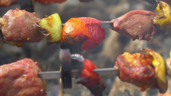 Thumbnail for Kebabs, Barbeque On Skewers Turn Around