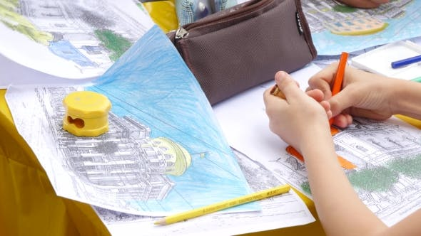 Thumbnail for Children Painting On Paper At Table