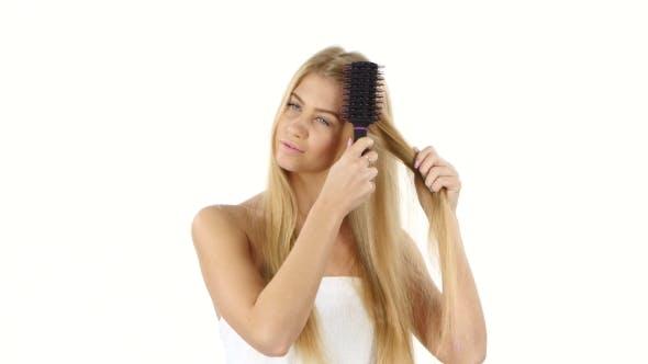 Thumbnail for Beautiful Blond Brushing Her  Hair