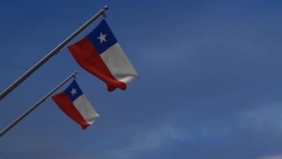 Chile Flags In The Blue Sky - 2K
