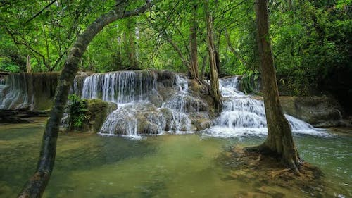Time-lapse of Level 7 of Huay Mae Kamin waterfall in Khuean Srinagarindra National Park