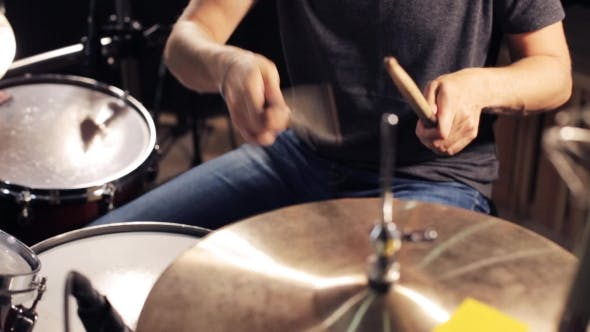 Thumbnail for Male Musician Playing Drums And Cymbals At Studio 5