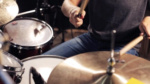 Thumbnail for Male Musician Playing Drums And Cymbals At Studio 7