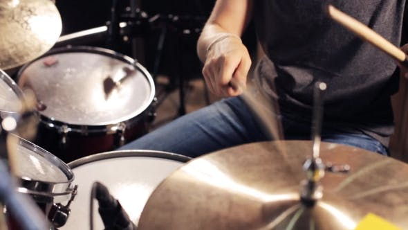 Thumbnail for Male Musician Playing Drums And Cymbals At Studio 9