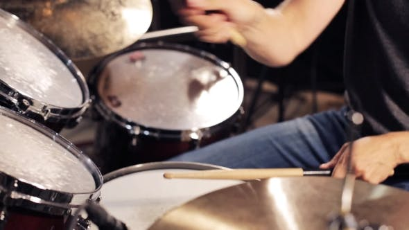 Thumbnail for Male Musician Playing Drums And Cymbals At Studio 10