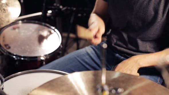 Thumbnail for Male Musician Playing Drums And Cymbals At Studio 12