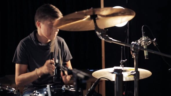 Thumbnail for Male Musician Playing Drums And Cymbals At Studio 16
