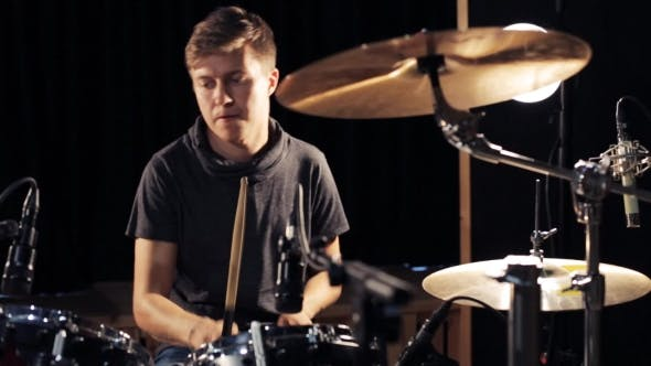 Thumbnail for Male Musician Playing Drums And Cymbals At Studio 17