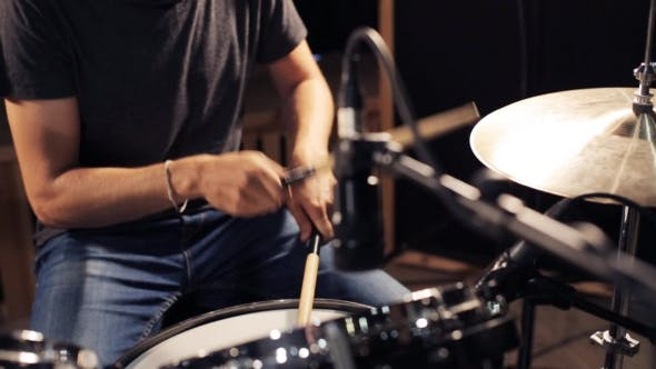 Thumbnail for Male Musician Playing Drums And Cymbals At Studio 19