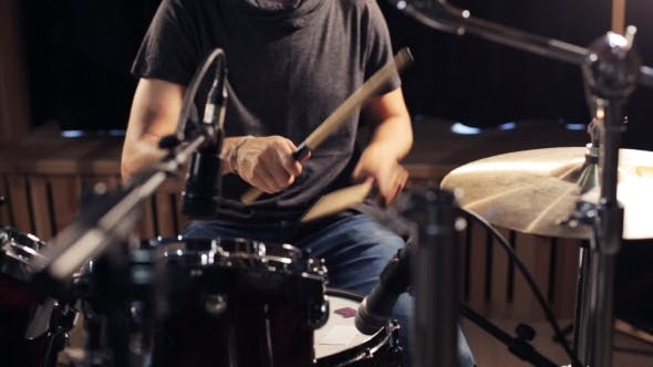 Thumbnail for Male Musician Playing Drums And Cymbals At Studio 23