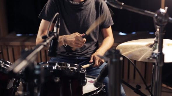 Thumbnail for Male Musician Playing Drums And Cymbals At Studio 24