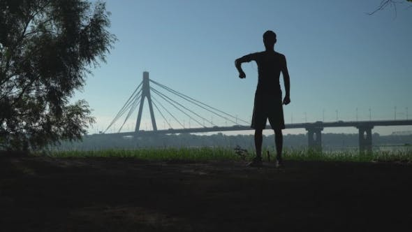 Thumbnail for Guy Doing Workout In The Town Outdoors