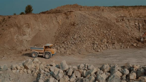 Thumbnail for Quarry Mountain. Loaded Ore Dump Heavy Going For a Career. Aerial Photography.