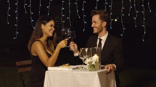 Thumbnail for Romantic Couple Dining In An Elegant Restaurant