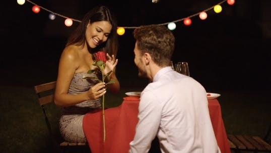 Thumbnail for Young Man Giving a Beautiful Woman  Rose