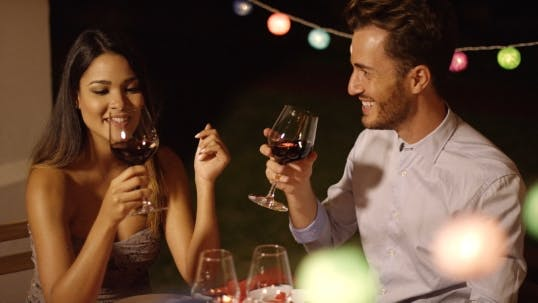 Thumbnail for Romantic Young Couple Enjoying Dinner And Wine