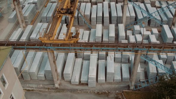Thumbnail for Industry Construction And Development. Workers Building a New House. Aerial