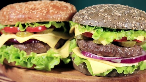 Thumbnail for Beef Burger Meal on a Bun With Squid